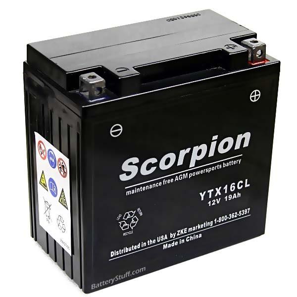 Yt16cl battery scorpion 12 volt motorcycle batteries for Yamaha atv batteries