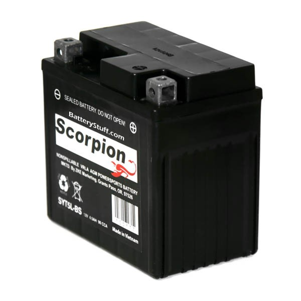 Yt5l bs battery scorpion 12 volt motorcycle batteries for Yamaha atv batteries