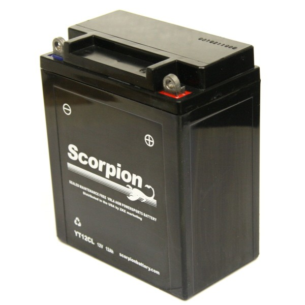 YT12CL Scorpion 12v 165 CCA AGM Scooter Motorcycle Battery