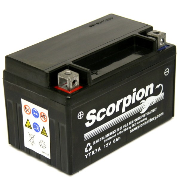 YTX7A BS Scorpion 12v 120 CCA AGM Power Sport Motorcycle Battery