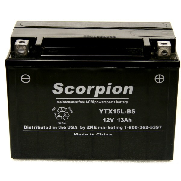YTX15L BS Scorpion 12v 230 CCA AGM Power Sport Motorcycle Battery